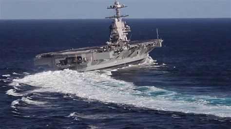 USS Gerald R Ford Aircraft Carrier High Speed Turn's - YouTube